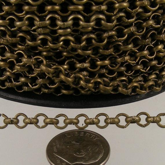 Antique Bronze Rolo Chain en vrac, 100 pieds de la chaîne porte-câbles en laiton Rolo 4,7 mm - liens dessoudés - Collier Bracelet gros vrac Jewerly Chain