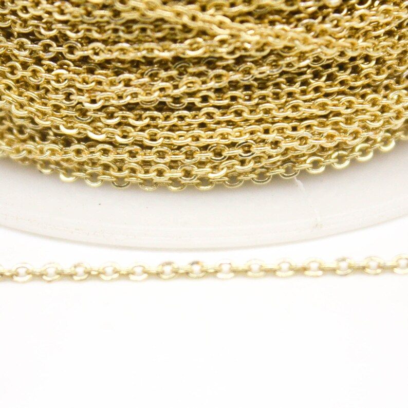 2mm 2x1.4mm SOLDER 18K Gold Plated Micro Flat Chain Small Soldered AT214F 100 feet TARNISH Resistant Tarnish FREE Anti Tarnished