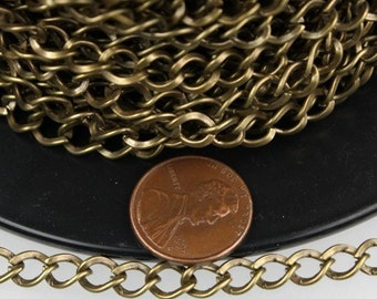 10 ft of Antique Brass Finished Big Hammered Curb Chain - 7.8x6.0mm Unsolodered Link 18G
