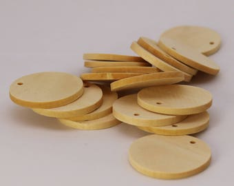 """50 pcs of 1 3/8"""" - 35mm Diameter Unfinished Wood with Hole Blank Pendants - Round Wooden Circle Disc - Smooth Blanks - from California USA"""