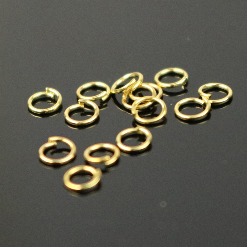 3mm THIN Jump Rings, 200 Gold Plated Jump Rings Jumprings Open 3x0.4mm 26 Gauge 26G Link Connector Jump Rings - ship from - O4x3 photo