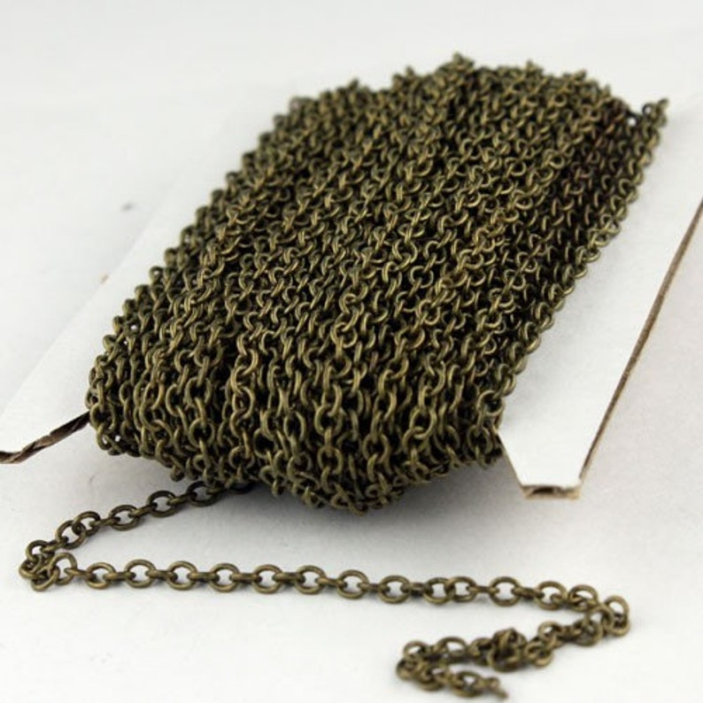 Antique Bronze Chain, bulk, 10 ft. of Antique Brass  SOLDERED Cable Chain - 3.2x2.8mm SOLDERED LInk - 3430S photo
