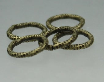100 pcs of Antique Brass plated Textured Fancy jumpring - 9mm
