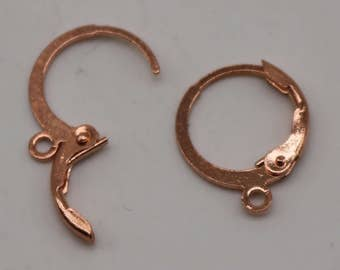 NEW 50 Copper (Bright Copper) ROUND Leverback Earrings earwire - 12x9mm Brass Earring Lever Back - from California USA - ELR9
