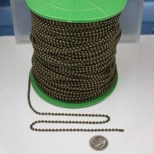Inseert type 2.4mm ball size spool of Antique Brass ROUND ball chain Wholesale Lot 300 ft - 24BALL with FREE 200pcs Connectors