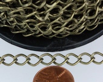 Antique Bronze Curb Chain Bulk,  3 ft of Antique Brass Big Hammered Curb Chain - 8.7x7.3mm Unsolodered - Necklace Bracelet Wholesale DIY