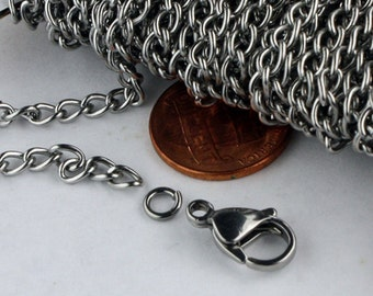 30 feet Stainless Steel Curb Chain Surgical Sturdy BIG Curb chain - 3.6mm width 19G Wire - Bulk Chain Necklace Wholesale DIY Jewelry Chain