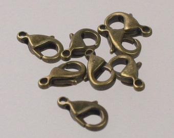 50 pcs of Antique Brass Alloy lobster claw clasp 10x5mm