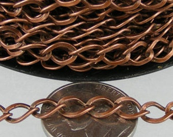 10ft of Antique Copper  Finished Big Hammered Curb Chain - 7.8x6.0mm Unsolodered Link 18G