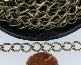Antique Bronze Curb Chain Bulk,  10 ft of Antique Brass Big Hammered Curb Chain - 8.7x7.3mm Unsolodered - Necklace Bracelet Wholesale DIY