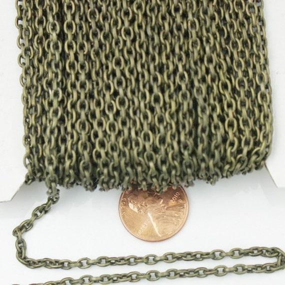Antique en laiton dessiné chaîne en vrac, bobine de 3 pieds de Bronze dessinée câble chaîne 4X3mm - lien dessoudé, chaîne collier en vrac