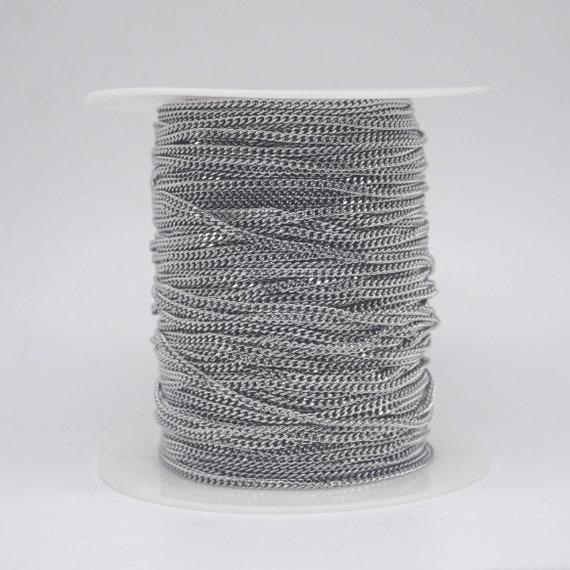 10 pieds de inoxydable chaîne gourmette en acier inoxydable de en vrac, Diamond Cut facette, coupé bord gourmette chaîne collier Bracelet de diamant - 2,0 mm de largeur 1,0 mm d'épaisseur 5ee0f2