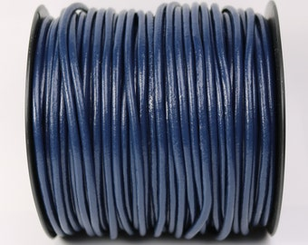 5 feet Navy Blue Leather Cord - 3mm Genuine Leather Round Cord - USA Seller