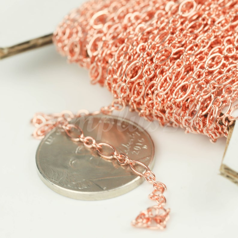 4.5x2.5mm 2.9x2.6mm Soldered New 300 ft Bright Copper Plated Bulk Chain LS317F31 Long and Short Small 3 and 1 SOLDERED  Chain