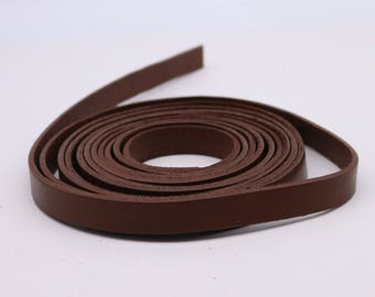 3/8 inch 10mm x 12/36 inch Brown Genuine Leather Strap - Premium Quality Real Leather - 1/3 Feet Long - 3/8 Inch / 10mm Flat Strip