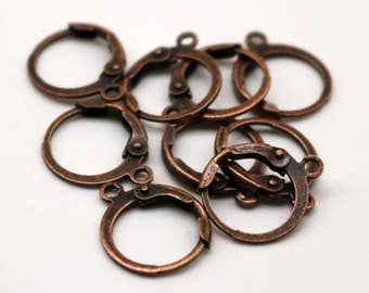 NEW 50 Antique Copper ROUND Leverback Earrings earwire - 12x9mm Brass Earring Lever Back - from California USA - ELR9