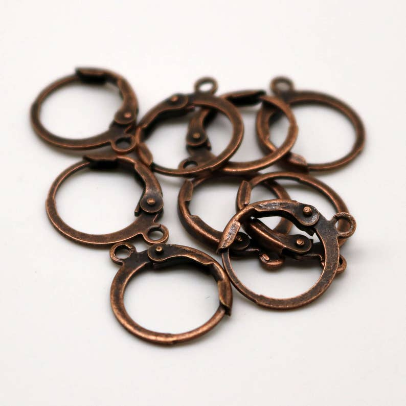 NEW 50 Antique Copper ROUND Leverback Earrings earwire - 12x9mm Brass Earring Lever Back - from California USA - ELR9 photo
