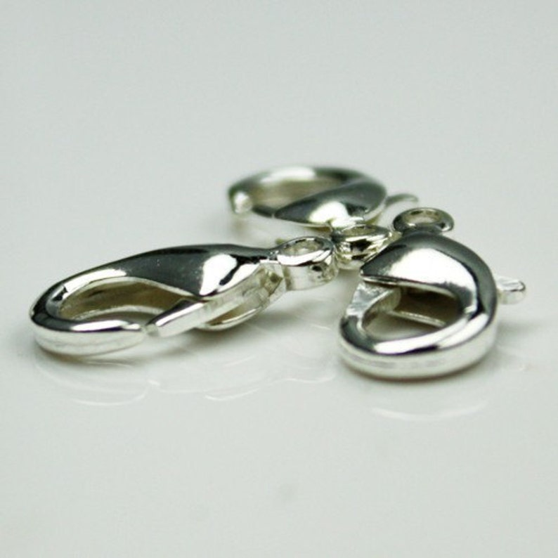 50 pcs of Silver Plated lobster claw brass clasp 12X7mm photo