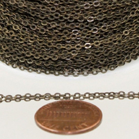 32ft Spool of Antiqued brass tiny flat cable chain 2mm