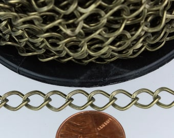 10ft of Antique Brass Finished Big Hammered Curb Chain - 8.7x7.3mm Unsolodered Link