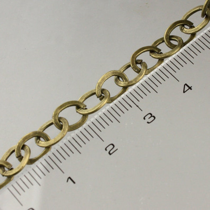 32 ft spool of antiqued brass flat cable chain 3X2.5mm