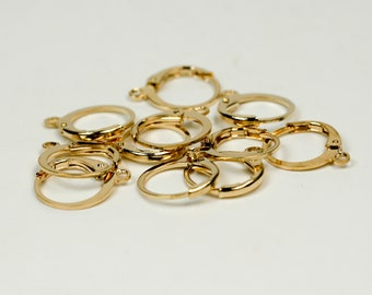 New 50 Champagne Gold Plated / Pinky Gold Plated ROUND Leverback Earrings earwire - 12x9mm Brass Earring Lever Back - ELR9