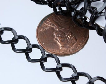 Black Curb Chain Bulk,  10 ft of Big Hammered Curb Chain - 8.7x7.3mm Unsolodered - Necklace Bracelet Wholesale DIY Chain