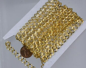 Gold Plated Curb Chain Bulk,  10 ft of Big Hammered Curb Chain - 8.7x7.3mm Unsolodered - Necklace Bracelet Wholesale DIY Chain