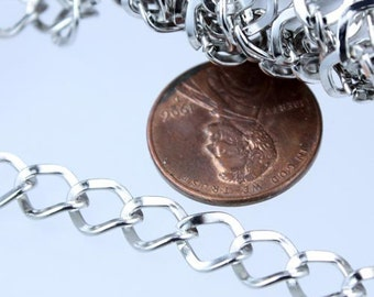 Rhodium Curb Chain,  3 ft of Antique Silver Big Hammered Curb Chain - 8.7x7.3mm Unsolodered - Necklace Bracelet Wholesale DIY