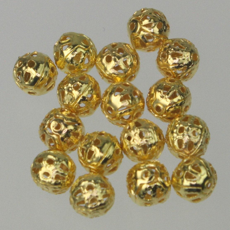 Gros Lot de 500 pcs d'or plaqué Filigree ronde Perles 6mm Spacer - 6mm Perles - navire de Californie USA 42fa05
