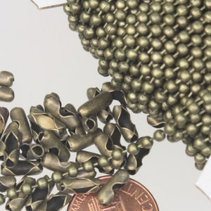 100 Antique Brass BALL Chains  2.4mm  Bulk Necklace Chain  With Closure  24 Inch  Jewelry DIY  BOHO style  ZF293-100