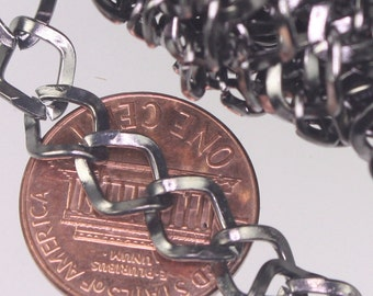 Gunmetal Curb Chain Bulk, 32 ft of Big Hammered Curb Chain - 8.7x7.3mm Unsolodered - Necklace Bracelet Wholesale DIY Chain