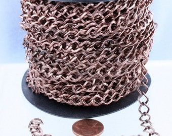 Antique Copper Curb Chain Bulk, 32 ft of Big Hammered Curb Chain - 8.7x7.3mm Unsolodered - Necklace Bracelet Wholesale DIY Chain