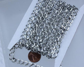 Rhodium Curb Chain Bulk,  10 ft of Antique Silver Big Hammered Curb Chain - 8.7x7.3mm Unsolodered - Necklace Bracelet Wholesale DIY