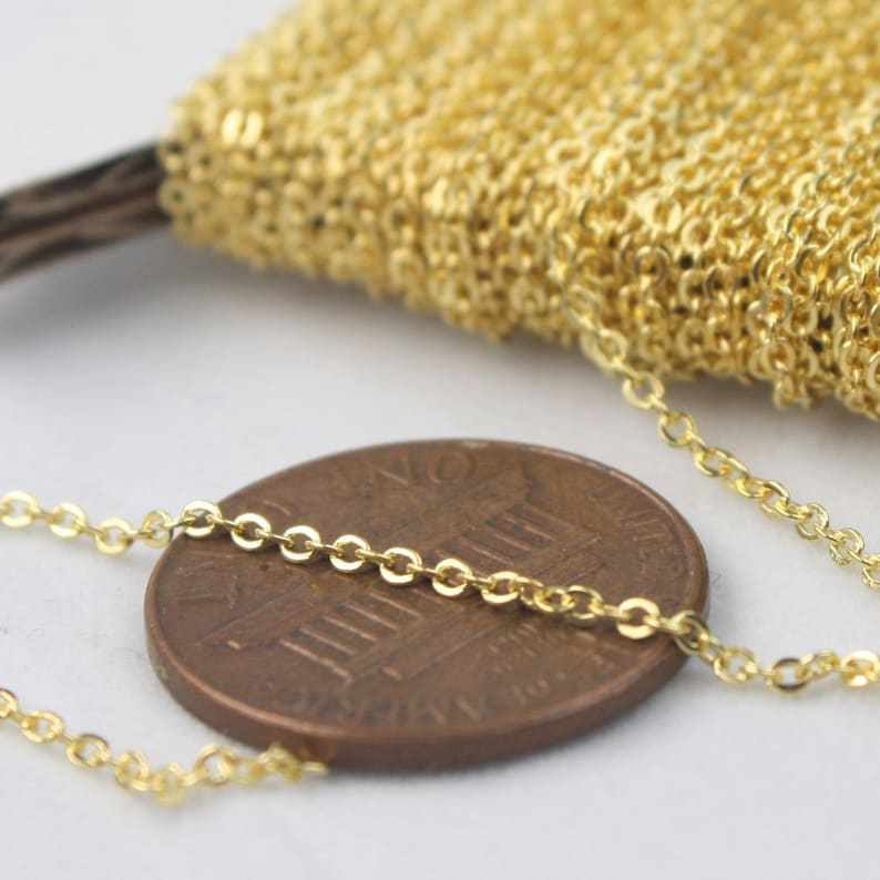 Gold Plated Chain Bulk Chain, 10 ft of Tiny Flat Soldered Dainty Delicate Cable Chain - 2mm 2x1.4mm - Free Adequate Jumpring 10pcs - 214F photo