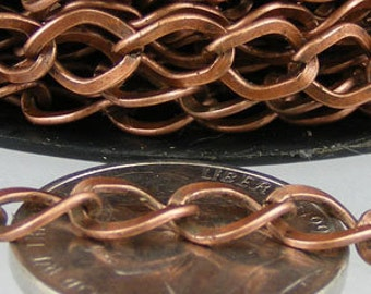 Antique Copper Chain Bulk Chain, 10ft of Antique Copper  Finished Big Hammered Curb Chain - 7.8x6.0mm Unsolodered Link 18G