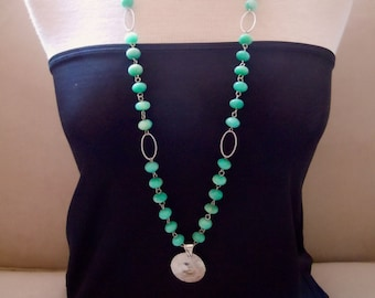 St. Maarten -- One of a Kind -- Russian Amazonite and Hammered Silver Pendant Long Statement Necklace