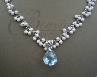 Etoile -- Blue Quartz Teardrop and Sterling Silver necklace