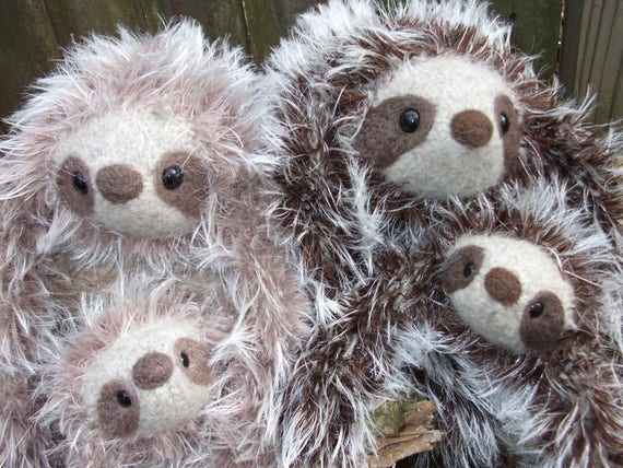 Sloth Jumbo Stuffed Animal Giant Sloth Plush Made To Order Etsy
