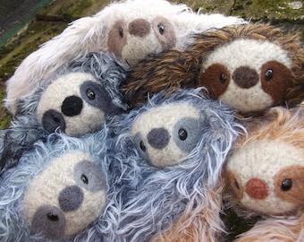 Sloth stuffed animal, plush Mama and baby