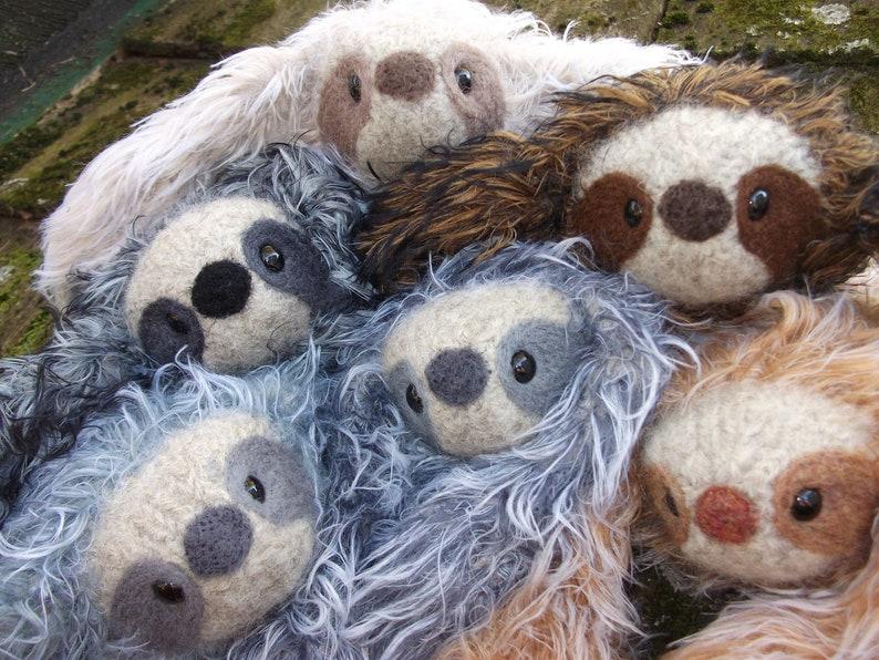 Sloth stuffed animal plush Mama and baby image 0