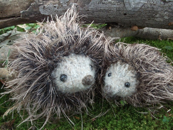 Hedgehog Mama And Baby Plush Toy Hedgehog Toy Hand Knit
