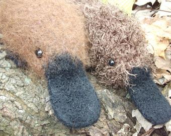 Platypus plush toy, stuffed animal platypus, knitted and felted platypus toy, platypus amigurumi, platypus doll, made to order