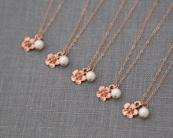Rose Gold Bridesmaid Jewelry, Gift for Bridesmaid, Gift Set of 5, Rose Gold Bridesmaid Necklace, Rose Gold Necklace