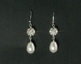 Drop Pearl Earrings, Rhinestone Bridal Earrings, Crystal Pearl Wedding Jewelry, Wedding Drop Earrings-- PORTIA