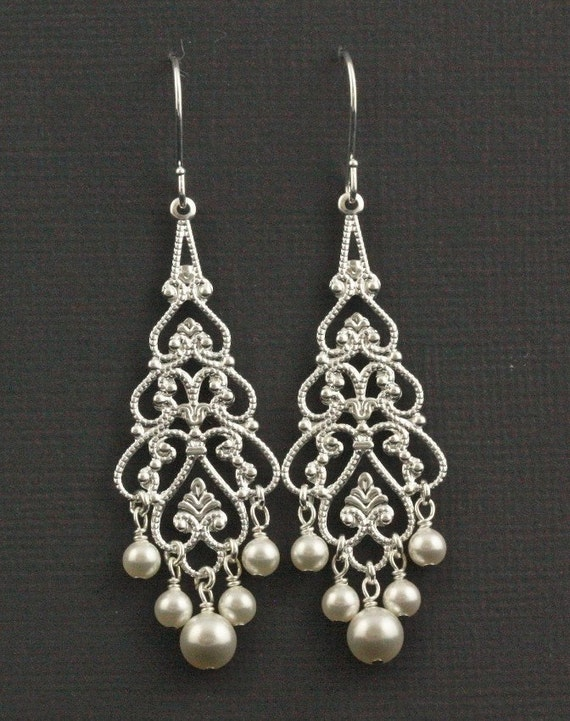 Silver and Soft Pewter Pearl Chandelier Earrings