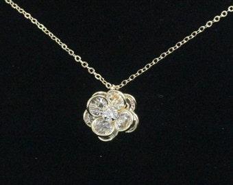 Rose Bridal Necklace -- Gold Rose Necklace, Swarovski Crystal and Gold, Flower, Floral, Garden Wedding Jewelry