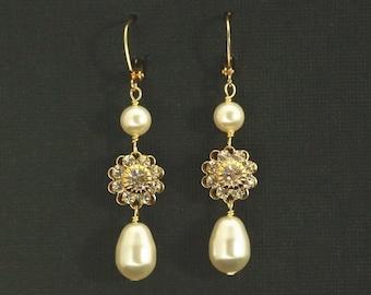 Long Bridal Earrings -- Pearl Wedding Earrings, Gold Rhinestone Flower Wedding Jewelry, Bridal Jewelry, Dangle Earrings -- VINTAGE ROMANCE