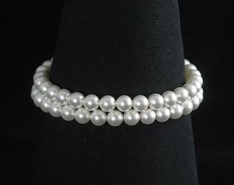 Pearl Bridal Bracelet, Pearl Cuff, Double Strand Pearl Bracelet, Wedding Jewelry, Classic Bridal Bracelet -- EMMARIE II