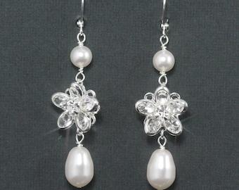 Long Crystal Pearl Bridal Earrings, Rhinestone Pearl Wedding Earrings, Wedding Jewelry, Swarovski Crystal Pearl Bridal Jewelry -- OLIVIA